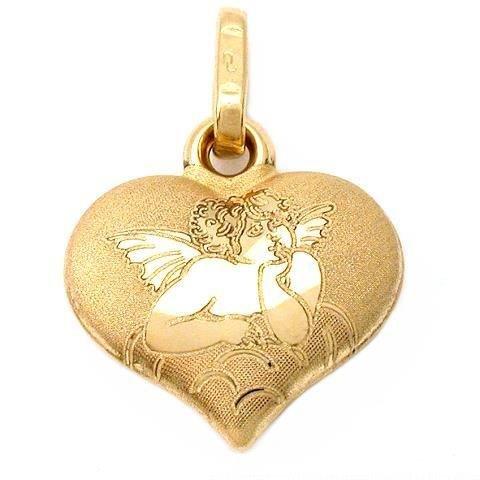 14k Gold Angel Friend Heart Charm Religious Jewelry