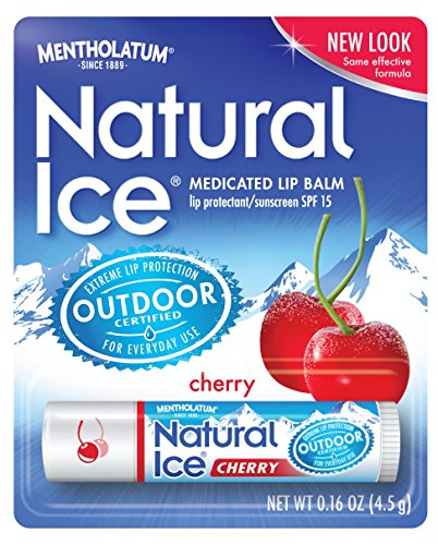Mentholatum Natural Ice Lip Protectant SPF 15, Cherry Flavor, 0.16-Ounce Tubes (Pack of 12) (Natural Balm compare prices)
