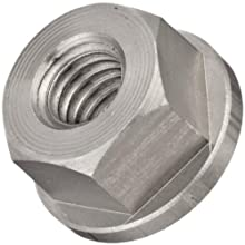 "Grade 8 Low Carbon Steel Flange Nut, UNC 2B Threads, 3/8""-16 Thread Size, 11/16"" Width Across Flats"