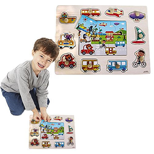 Toy-Cubby-Kids-Toddler-Wooden-Pegged-Jumbo-Vehicles-and-Floor-Puzzle-Board-Set-2-to-3-inches-vehicle-puzzle-piece