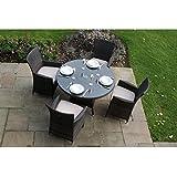 Milan Garten-Sitzgruppe, Rattan, für 4 Personen, runder Tisch-Set