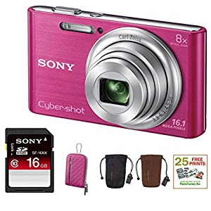SONY Cyber-shot DSC-W730 Compact Zoom Digital Camera in Pink + 16GB Secure Digital Memory Card + Sony Case in Pink + Sony Drawstring Style Case + 25 Free Quality Photo Prints