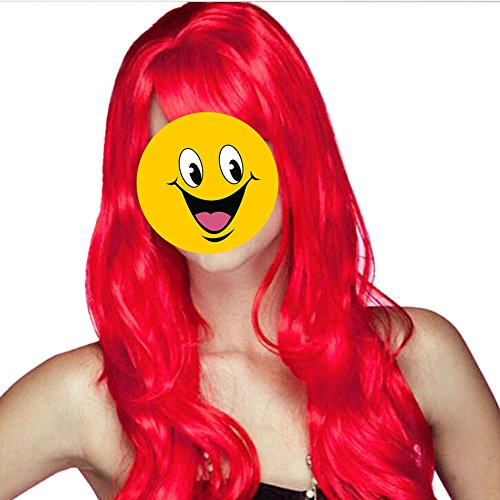 TOPTIE Halloween Costume Long Big Wavy Red Hair, Cosplay Wig
