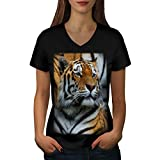 Royal Indian Tiger Magnificent Women NEW Black XL V-Neck T-shirt | Wellcoda