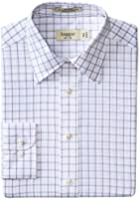 Haggar Men's Large Check Poplin Fancy Long Sleeve Regular Shirt
