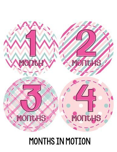 Months in Motion 276 Baby Month Stickers for Newborn Girl Pink Colorful Design