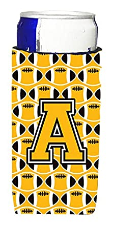 buy Letter A Football Black, Old Gold And White Ultra Beverage Insulators For Slim Cans Cj1080-Amuk