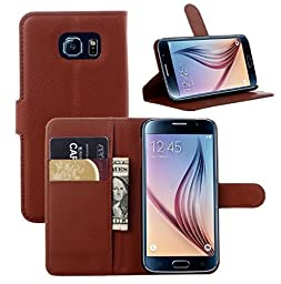 Samsung Note 5 Flower Wallet Case-Aurora® Brown Samsung Note 5 TPU Leather Wallet Card Slot Cover with Strap and Kickstand for Samsung Galaxy Note 5