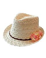 Chinatera Femme Fille Chapeau d'été avec decoration de ruban et de dentelle ciselée Bowler Hat