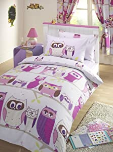 GIRLS REVERSIBLE SINGLE DUVET QUILT COVER CHILDRENS BEDDING SET - OWL HOOT LILAC