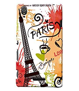 Clarks Eiffil Tower Inspired Hard Plastic Printed Back Cover/Case For Sony Xperia T3