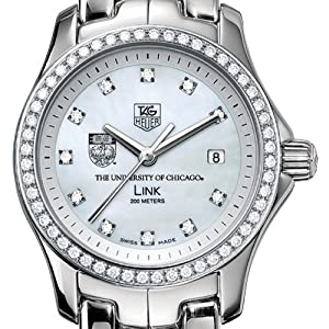 University of Chicago Women's TAG Heuer Link Watch with Diamond Bezel