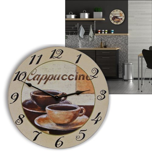 ALSS ITALIAN Instruments Dreamy Impressions  2 Cups of Cappuccino  Woodden Wall Clock Large 11.8