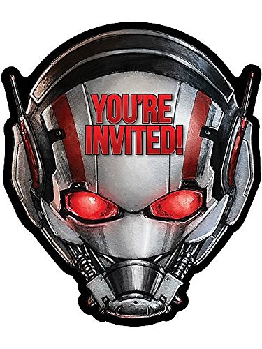 Amscan Adventurous Ant-Man Birthday Party Invitation Cards (8 Piece), Gray/Black/Red, 4 1/4 x 6 1/4""