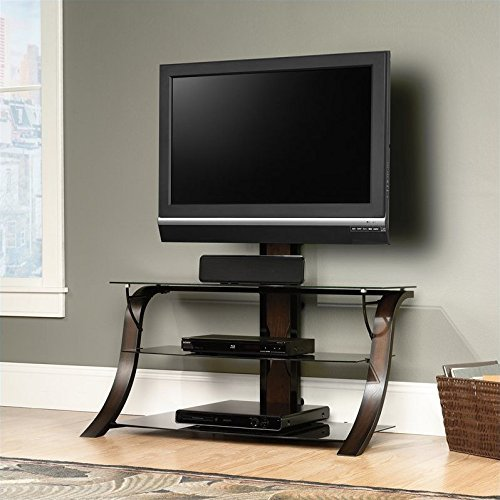 """Sauder Veer Panel TV Stand with TV Mount, For Tv's up to 50"""", Black/Seasoned Cherry finish and Black Glass"""