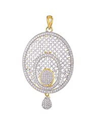 Sparkles Creation Oval Pendant Set In American Diamonds And One Gram Gold Plated Metal