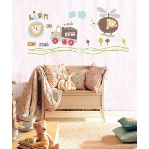 WallStickersUSA Wall Sticker Decal, Lion On The Road, Medium