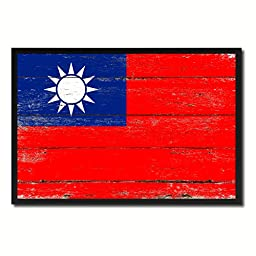 Taiwan National Shabby Chic Flag Art Canvas Print Wall Home Décor Interior Design Souvenir Gift Ideas
