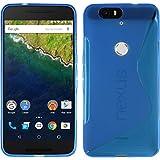 Google Nexus6P TPU グリップカバーケース [ Softbank Nexus 6P ネクサス 6ピー SIMフリー 5.7インチ 対応 ] 薄型軽量 / 滑止め加工 / ソフトフィットモデルカバー (Google Nexus6P, Design S Blue (青))