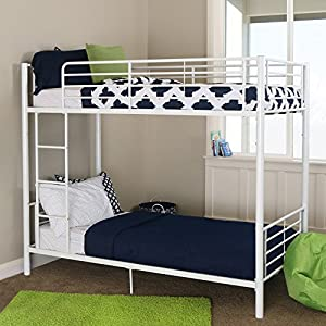 New Sunrise Metal Twin-over-Twin Bunk Bed in White Finish