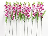 VCK Artificial Sonia Orchid Flower Sticks( Set of 10, Purple)