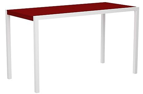 "POLYWOOD 8302-13SR MOD 36"" x 73"" Bar Table, Satin White/Sunset Red"