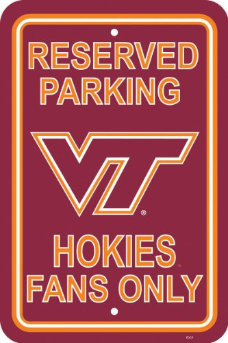 NCAA Virginia Tech 12-by-18 inch Plastic Parking Sign