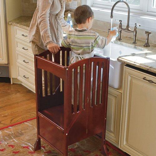 One Step Ahead Kids Kitchen Helper Safety Tower Step Stool CHERRY