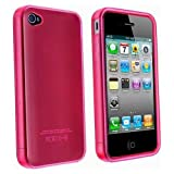 MassG® Apple Iphone 4/4S Silicone Gel Rubber Protective Case Slim Secure Tight Fit Light Weight Durable Impact Resistant Precise Cut Outs For Easy Access To All Buttons And Functions - Light Red