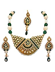 Surat Diamonds Green Jadtar & Pearl Bridal Jewellery Imitation Set For Women (PS153)