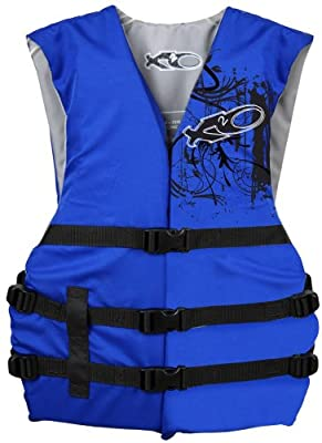 Exxel Outdoors XV100B X20 Universal Adult Life Jacket Vest - Blue & Black