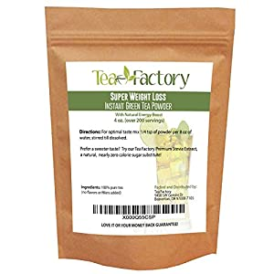 Instant Green Tea Powder - 100% Pure Tea - No Fillers, Additives or Artificial Ingredients of Any Kind (4 oz - appx 200 Servings)