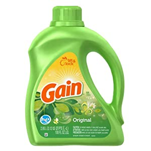 Gain HE 2x Concentrated Liquid Detergent, Original Fresh Scent, 64-Load Bottle (Pack of 4)