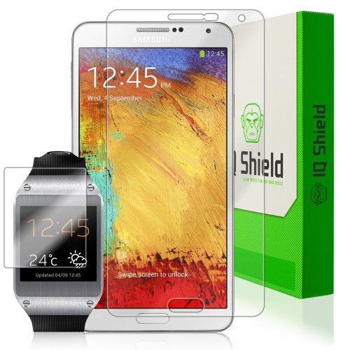 Iq Shield Liquidskin - Samsung Galaxy Note 3 & Galaxy Gear Watch Screen Protector - High Definition (Hd) Ultra Clear Phone Smart Film - Premium Protective Screen Guard - Extremely Smooth / Self-Healing / Bubble-Free Shield - Kit Comes With Retail Packagin