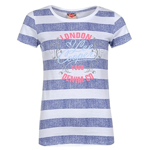 Lee Cooper -  T-shirt - Maniche corte  - Donna Weiss/Marineblau Small