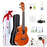 Electric Ukulele Concert 23 Inch Ukele Solid Mahogany Uke Starter Kit With Free Online Lesson 8 Packs Accessory ( Gig Bag Picks Tuner Strap String Cleaning Cloth Instruction Book Gift Box ) From AKLOT