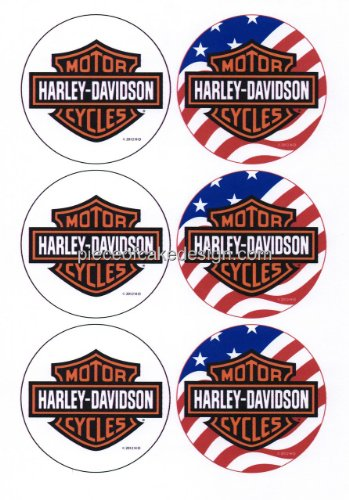 1/4 ~ Harley Davidson Rounds ~ Edible Image Cake / Cupcake Topper!!! (Harley Davidson Supplies compare prices)