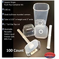 Giarraffa Co. Square Push Pop Containers 100 Count 3.82 Oz. With Tall Flat Top Lid Designed By Rhonda Giarraffa and Monique Moussan
