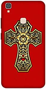 The Racoon Lean Gold Cross hard plastic printed back case / cover for Vivo V3 Max
