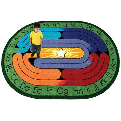 "Joy Carpets Kid Essentials Early Childhood Oval Amazing ABC's Rug, Multicolored, 5'4"" x 7'8"""