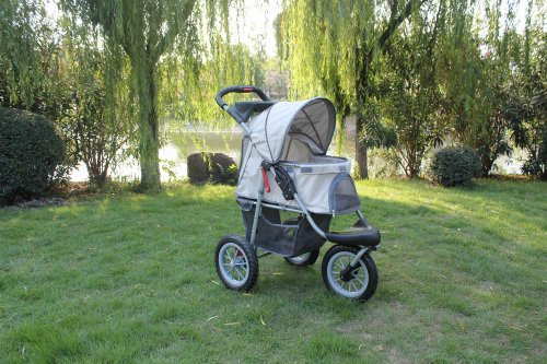 New BestPet Beige Sporty Pet Jogger Jogging Dog Cat Stroller Carrier
