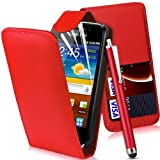 MOD SAMSUNG GT-I8160 GALAXY ACE 2 II FLIP PU LEATHER CASE COVER POUCH + 3x FREE SCREEN PROTECTOR + FREE STYLUS PEN (RED)