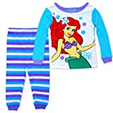 Disney Little Mermaid Ariel 2 Piece Girls' Cotton Top & Pants Pajama Set