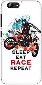 The Racoon Grip Sleep Eat Race Repeat hard plastic printed back case/cover for Htc One A9S