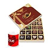 Valentine Chocholik Belgium Chocolates - Delightful Surprise Of Dark And Milk Chocolate Box With Love Mug