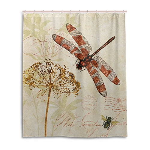 Bath Shower Curtain 60x72 Inch,Vintage Leave Dragonfly,Waterproof Polyester Fabric Bathroom Curtain (Shower Curtain With Leaves compare prices)