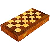 MadeInIndiaGallery Sheesham Wooden Portable Folding Magnetic Chess Board 8 Inch