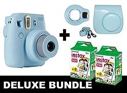 Fujifilm Instax Mini 8 - Blue + 40 Pack Instax Film + Blue Case + Blue Selfie Mirror