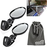 EEEKit Rearview Mirror Bundle for Bike Bicycle Cycling, 2 Pack Universal Mini Rotaty Rearview Handlebar Glass Mirror + EEEKit Pouch (Adjustable Strap Mirror)