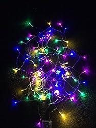 ( ELEFANG ) 多彩カラー♪【 イルミネーション LED ライト 電飾 】 4 M 七色新版 赤色 黄色 藤色 緑色 青色 / 電池 式 / クリスマス ツリー 飾り LITE / 保証書付 (七色新版4m40球)